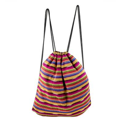 Multicolored Striped All Cotton Backpack