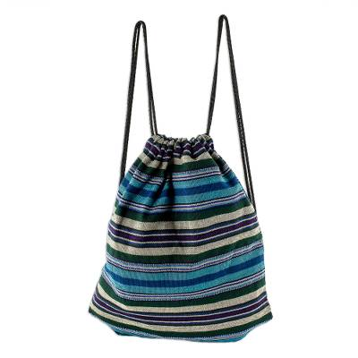 Blue Striped Handwoven All Cotton Backpack