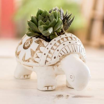 Terracotta flower pot, 'Busy White Turtle' - Busy White Ceramic Turtle Flower Pot from El Salvador
