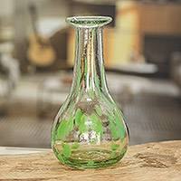Hand blown recycled glass decanter, 'Green Cyclone' - Hand Blown Clear and Light Green Glass Decanter