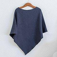 Cotton poncho, 'Cool Breeze' - Lightweight Blue Cotton Poncho From Guatemala
