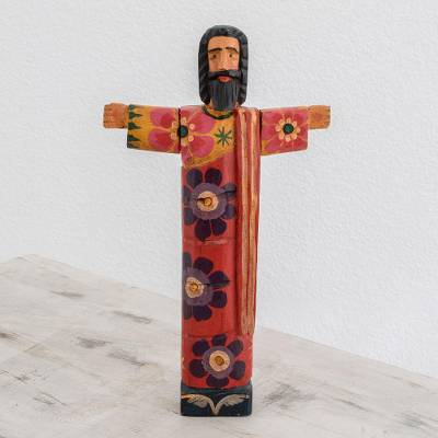 Wood statuette, 'Jesus Revived' - Hand-Painted Floral Wood Jesus Statuette from Guatemala