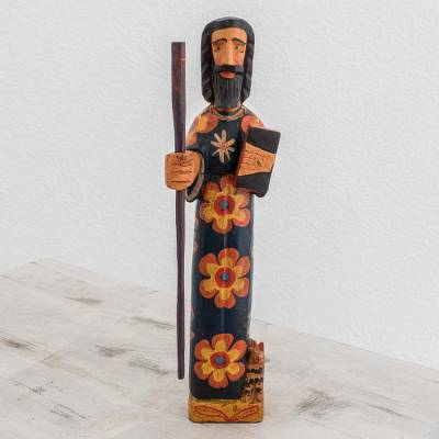 Wood statuette, 'Saint John the Evangelist' - Wood Statuette of Saint John the Evangelist from Guatemala
