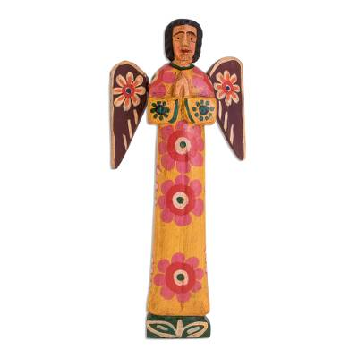 Wood statuette, 'Call of God' - Hand-Painted Floral Wood Angel Statuette from Guatemala