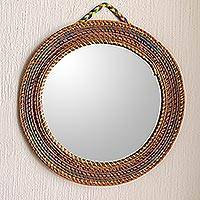 Pine needle wall mirror, 'Natural Reflections' - Colorful Round Wall Mirror Framed with Pine Needles