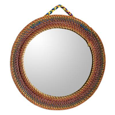 Colorful Round Wall Mirror Framed with Pine Needles