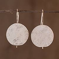 Sterling silver drop earrings, 'Costa Rican Moon' - Costa Rican Sterling Silver Geometric Drop Earrings
