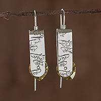 Sterling silver drop earrings, 'Sunshine in My Heart' - Sterling Silver Earrings with Yellow Cubic Zirconia
