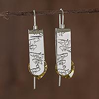 Sterling silver drop earrings, 'Sunshine in My Heart' - Sterling Silver Earrings with Yellow Cubic Zirconia