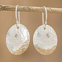 Sterling silver dangle earrings, 'Molten Ovals' - Oval Sterling Silver Earrings with Lava-Like Textures