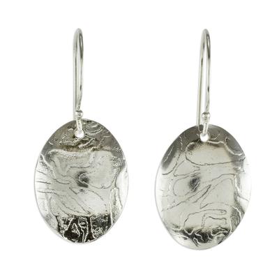 Sterling silver dangle earrings, 'Molten Ovals' - Oval Sterling Silver Earrings with Lava-Like Textures