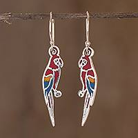 Enameled sterling silver earrings, 'Scarlet Macaws' - Enameled Sterling Silver Costa Rican Macaw Earrings