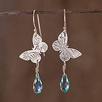 Sterling silver dangle earrings, 'Iridescent Butterfly'