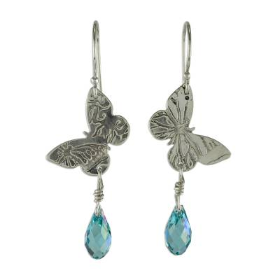 Sterling silver dangle earrings, 'Iridescent Butterfly' - Sterling Silver Butterfly' Earrings with Blue Cubic Zirconia