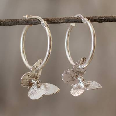 Sterling silver hoop earrings, 'Shimmering Butterflies' - Petite Silver Butterfly Hoop Earrings from Costa Rica