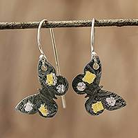 Gold accent dangle earrings, 'Midnight Butterfly'