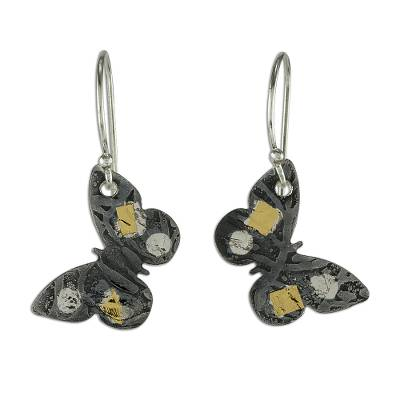 Gold accent dangle earrings, 'Midnight Butterfly' - 24k Gold Accent Dark Sterling Silver Butterfly Earrings