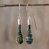 Art glass dangle earrings, 'Cool Vortex' - Costa Rica Artisan Crafted Art Glass Earrings with Silver
