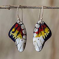 Enameled copper dangle earrings, 'Butterfly Fantasy' - Enameled Sterling Silver Costa Rican Macaw Earrings