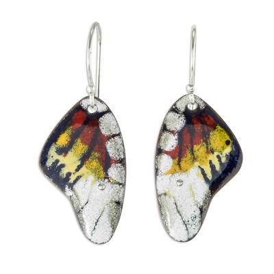 Enameled copper dangle earrings, 'Butterfly Fantasy' - Enameled Sterling Silver Costa Rican Macaw Earrings