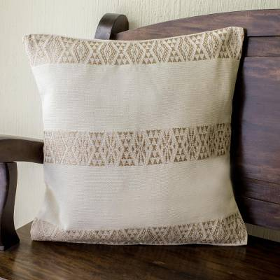 Cotton cushion cover, 'Mountains and Valleys in Ecru' - Ecru Hand Woven Cotton Cushion Cover