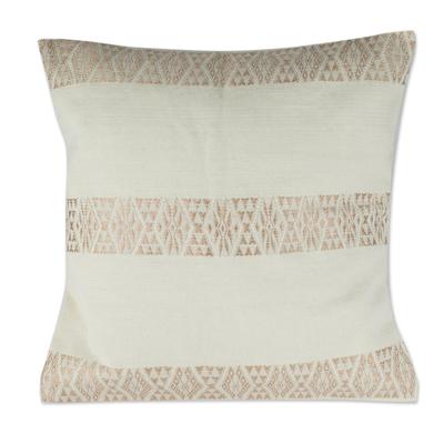 Ecru Hand Woven Cotton Cushion Cover