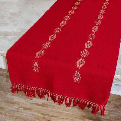 Cotton table runner, 'Mountains and Valleys in Red' - Handmade Red Cotton Table Runner