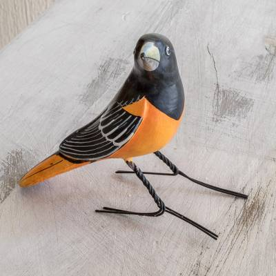 Ceramic figurine, 'Baltimore Oriole' - Handcrafted Posable Ceramic Baltimore Oriole Figurine
