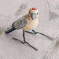 Ceramic figurine, 'Gila Woodpecker' - Guatemala Handcrafted Ceramic Gila Woodpecker Figurine