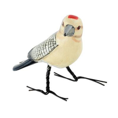 Ceramic figurine, 'Gila Woodpecker' - Guatemala Handcrafted Ceramic Gila Woodpecker Figurine
