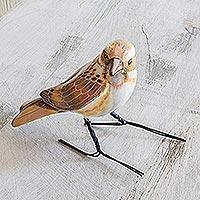 Ceramic figurine, 'Rustic Bunting' - Guatemala Handcrafted Ceramic Rustic Bunting Bird Figurine