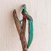 Ceramic figurine, 'Resplendent Quetzal' - Guatemala Handcrafted Ceramic Quetzal Bird Figurine