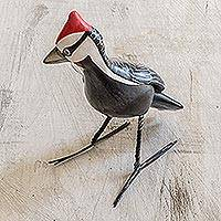 Ceramic figurine, 'Pileated Woodpecker'