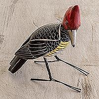 Ceramic figurine, 'Helmeted Woodpecker' - Handcrafted Posable Ceramic Helmeted Woodpecker Figurine
