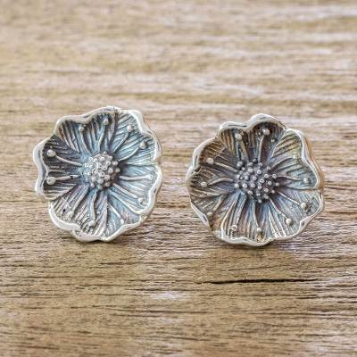 Sterling silver button earrings, 'Wayside Blossom' - Wildflower Sterling Silver Button Earrings