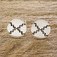 Sterling silver stud earrings, 'Double-Edged Blade' - Mayan Nahual Sterling Silver Stud Earrings