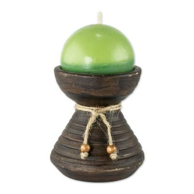 Round Green Candle with Ceramic Candleholder