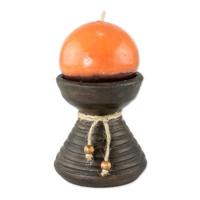 Brown Ceramic Candleholder with Handmade Orange Candle