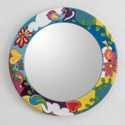 Wood wall mirror, 'Colorful Nature' - Colorful Hand Painted Round Wall Mirror