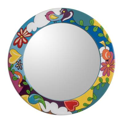 Colorful Hand Painted Round Wall Mirror