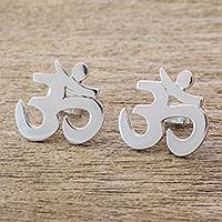 Sterling silver button earrings, 'Omkara' - Sterling Silver Omkara Symbol Button Earrings