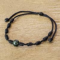 Jade pendant bracelet, 'Knotty' - Unisex Black Cord and Green Jade Bracelet