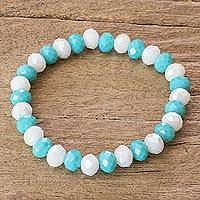 Glass beaded bracelet, 'Peaceful Heavens' - Handcrafted White and Sky Blue Glass Beaded Stretch Bracelet