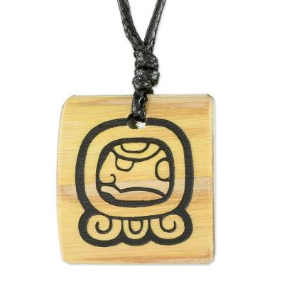 Bamboo Pendant Necklace with the Mayan Eagle Guardian Glyph