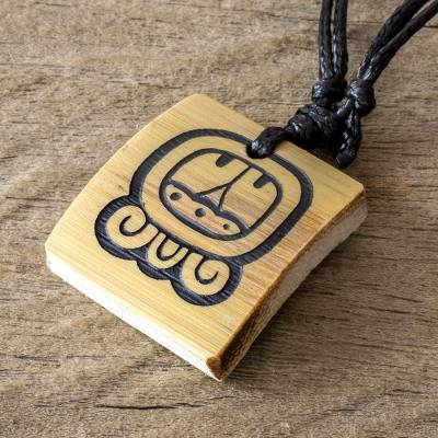 Bamboo pendant necklace, 'Mayan Duality' - Bamboo Pendant Necklace with the Mayan Duality Glyph