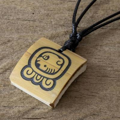Bamboo pendant necklace, 'Mayan Justice' - Mayan Spiritual Law and Justice Glyph Bamboo Necklace