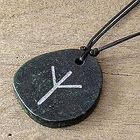 Jade pendant necklace, 'Rune Algiz' - Algiz Rune Dark Green Jade Pendant Necklace
