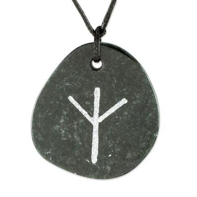 Jade pendant necklace, 'Rune Algiz' - Algiz Rune Dark Green Jade Pendant Necklace