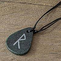 Jade pendant necklace, 'Rune Raidho' - Jade Rune Pendant Necklace for Men and Women