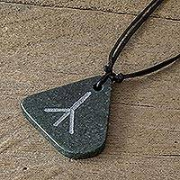 Jade pendant necklace, 'Rune Calc' - Dark Green Jade Calc Rune Pendant Necklace